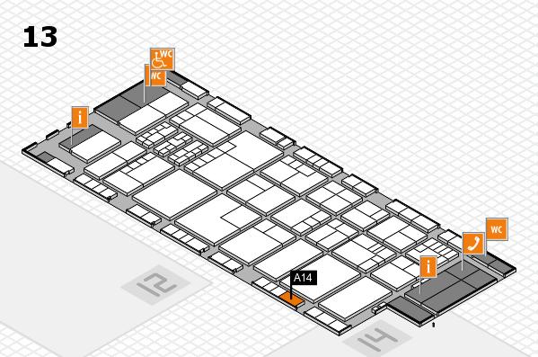 K 2016 hall map (Hall 13): stand A14