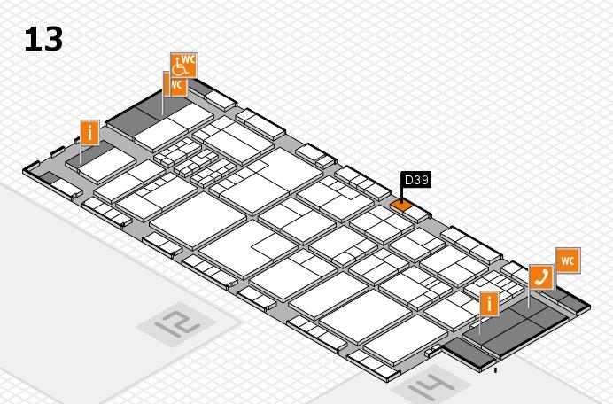K 2016 hall map (Hall 13): stand D39