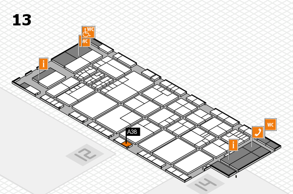K 2016 hall map (Hall 13): stand A38