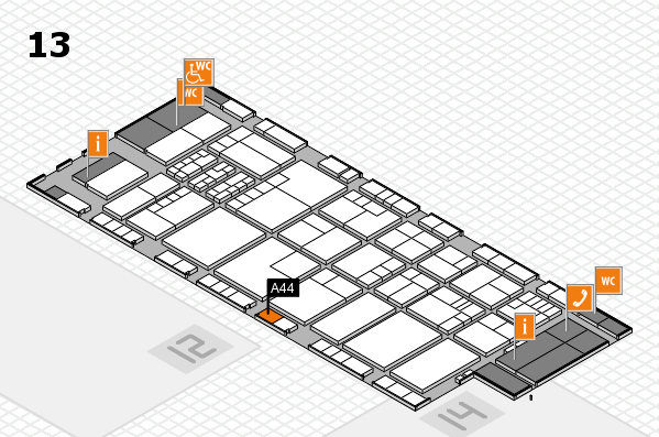 K 2016 hall map (Hall 13): stand A44