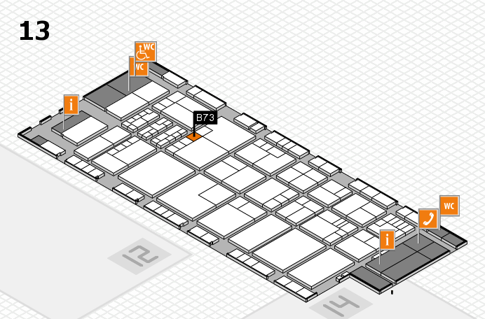 K 2016 hall map (Hall 13): stand B73