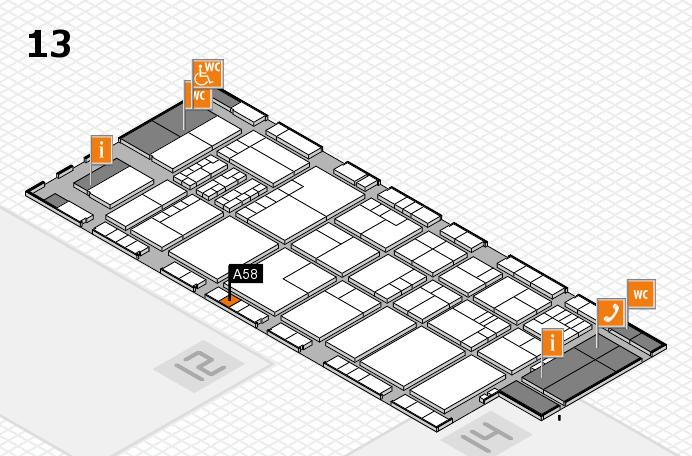 K 2016 hall map (Hall 13): stand A58