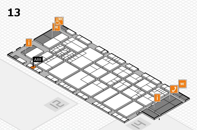 K 2016 hall map (Hall 13): stand A88
