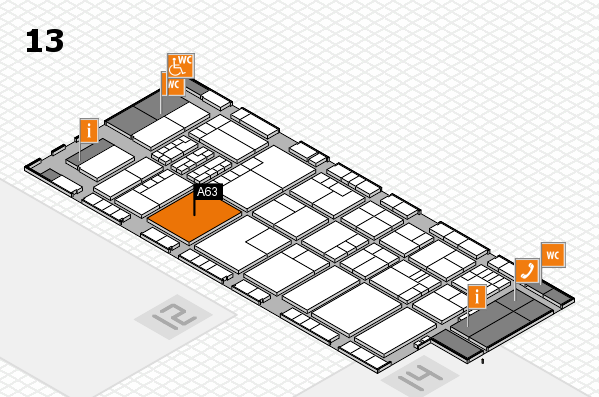 K 2016 hall map (Hall 13): stand A63