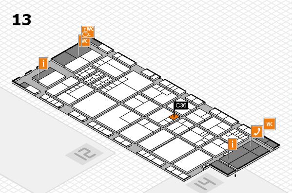 K 2016 hall map (Hall 13): stand C36