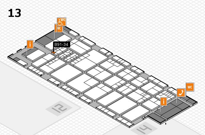 K 2016 hall map (Hall 13): stand B91-34