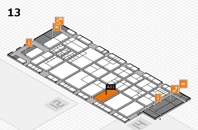 K 2016 hall map (Hall 13): stand A33