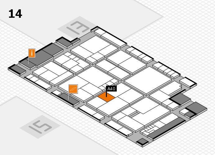 K 2016 hall map (Hall 14): stand A40