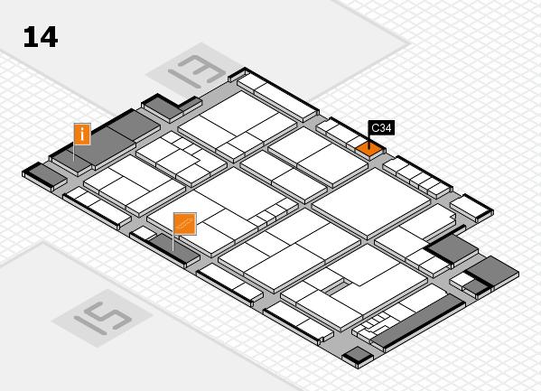 K 2016 hall map (Hall 14): stand C34
