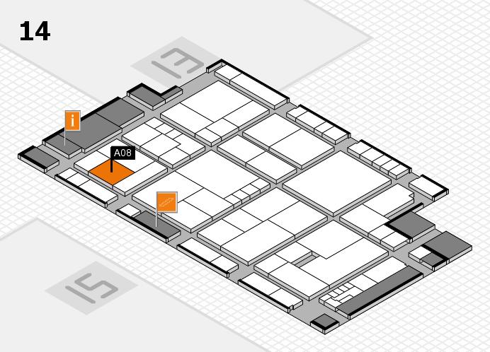 K 2016 hall map (Hall 14): stand A08