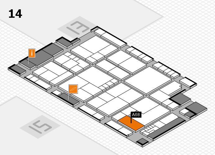 K 2016 hall map (Hall 14): stand A68