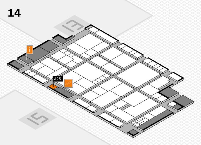 K 2016 hall map (Hall 14): stand A25