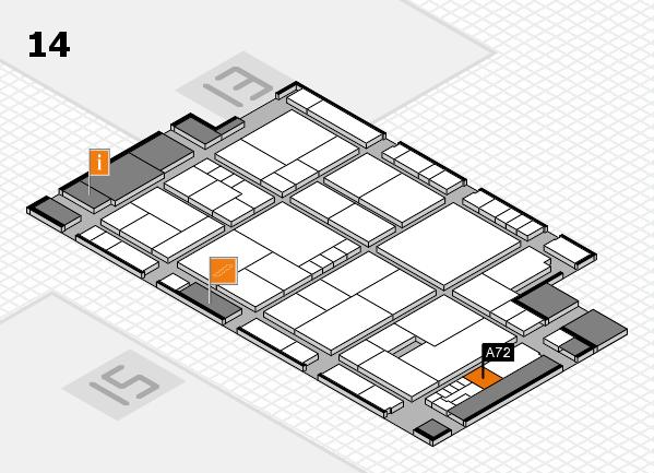 K 2016 hall map (Hall 14): stand A72
