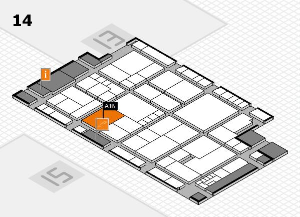 K 2016 hall map (Hall 14): stand A18