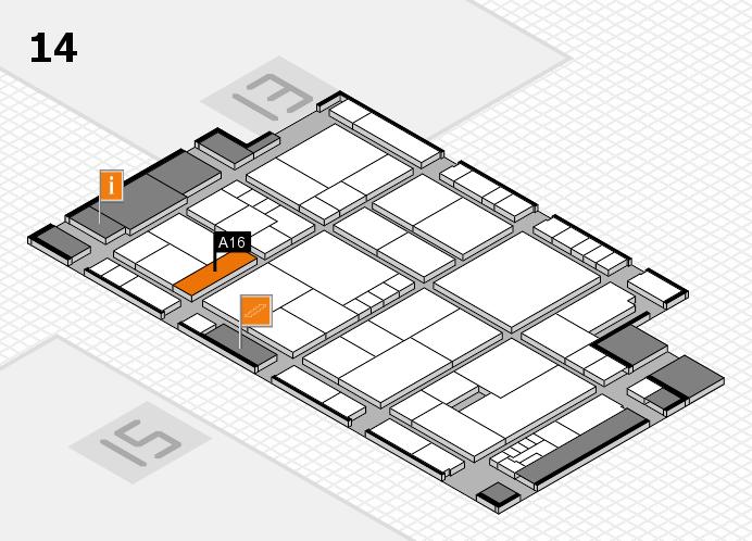 K 2016 hall map (Hall 14): stand A16