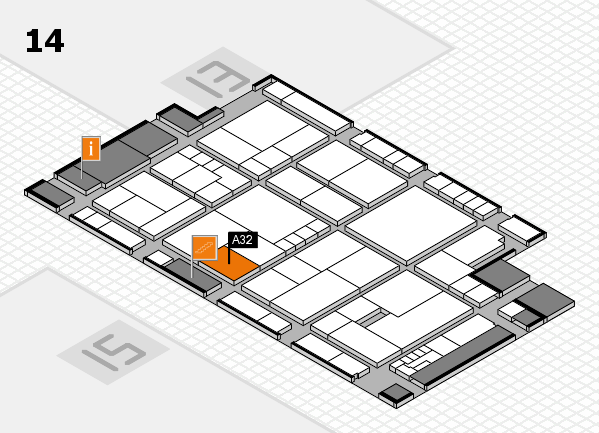 K 2016 hall map (Hall 14): stand A32