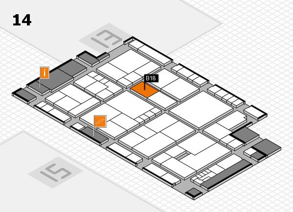 K 2016 hall map (Hall 14): stand B18