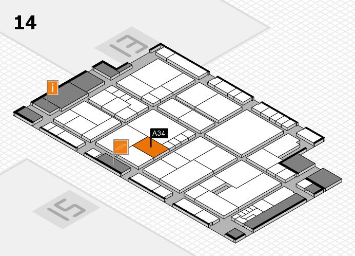 K 2016 hall map (Hall 14): stand A34