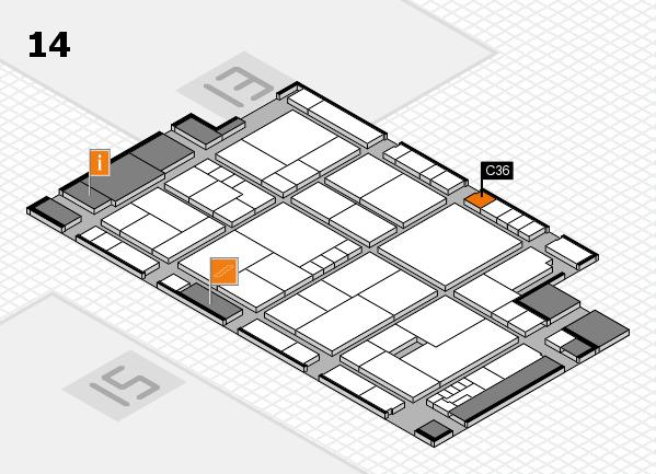 K 2016 hall map (Hall 14): stand C36