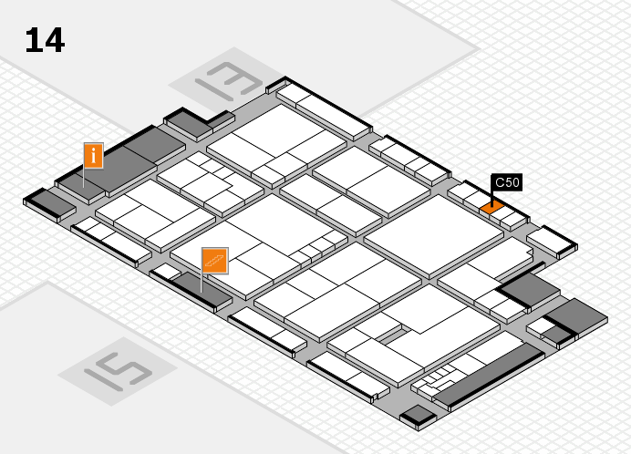 K 2016 hall map (Hall 14): stand C50