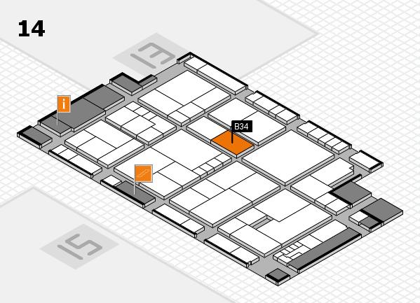 K 2016 hall map (Hall 14): stand B34
