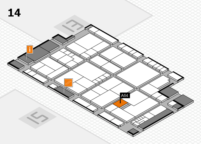 K 2016 hall map (Hall 14): stand A64