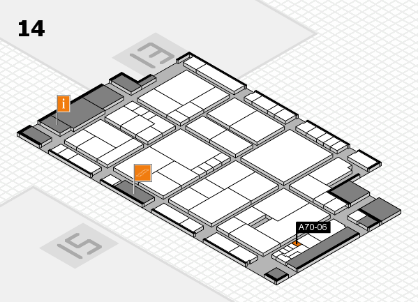 K 2016 hall map (Hall 14): stand A70-06