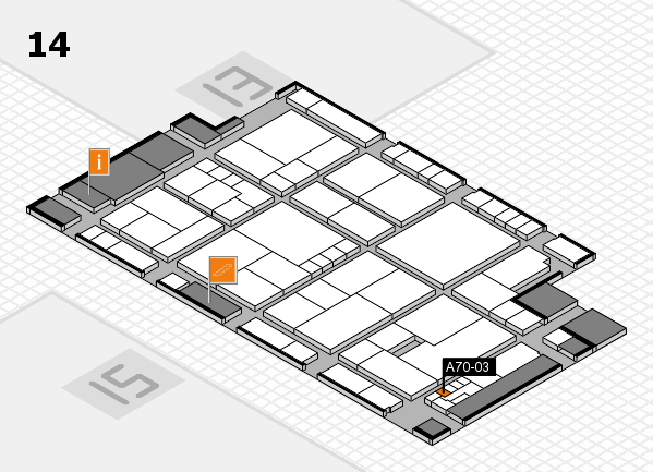 K 2016 hall map (Hall 14): stand A70-03