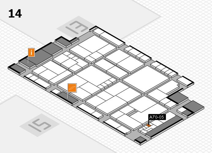 K 2016 hall map (Hall 14): stand A70-05