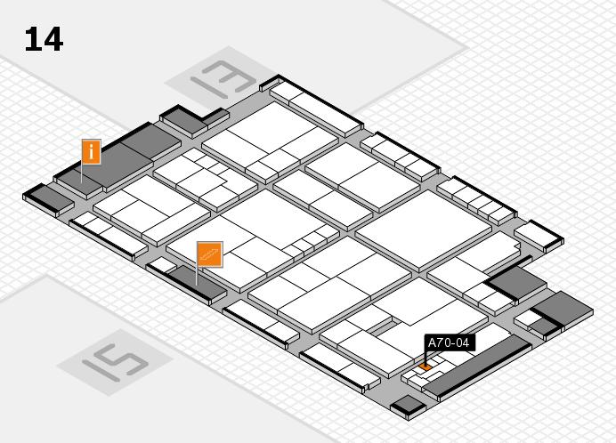 K 2016 hall map (Hall 14): stand A70-04