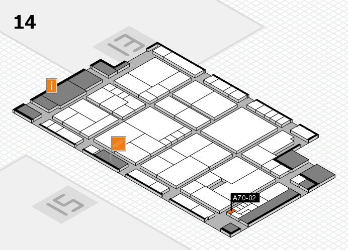 K 2016 hall map (Hall 14): stand A70-02