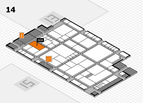 K 2016 hall map (Hall 14): stand A04
