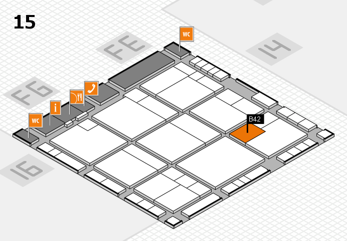 K 2016 hall map (Hall 15): stand B42
