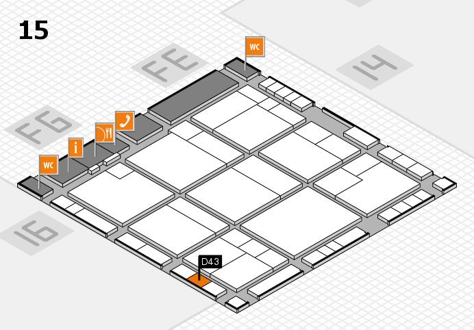 K 2016 hall map (Hall 15): stand D43