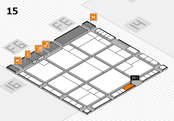 K 2016 hall map (Hall 15): stand B61