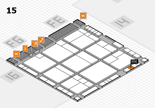 K 2016 hall map (Hall 15): stand B58