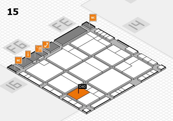 K 2016 hall map (Hall 15): stand D40