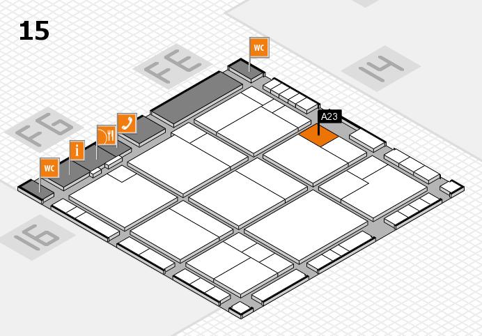 K 2016 hall map (Hall 15): stand A23