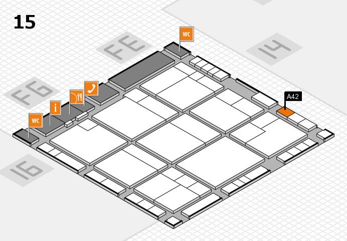 K 2016 hall map (Hall 15): stand A42