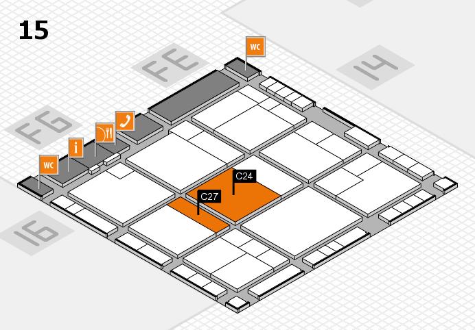 K 2016 hall map (Hall 15): stand C24, stand C27