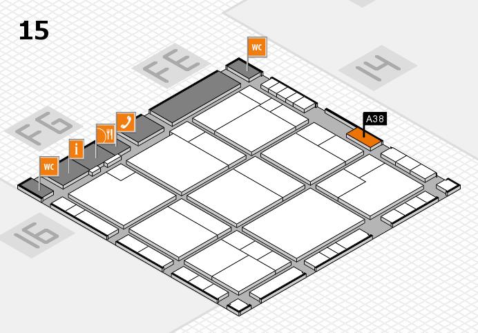 K 2016 hall map (Hall 15): stand A38