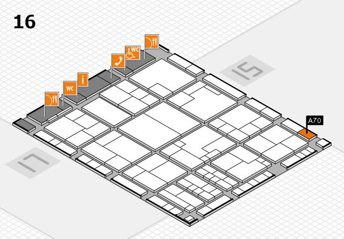 K 2016 hall map (Hall 16): stand A70