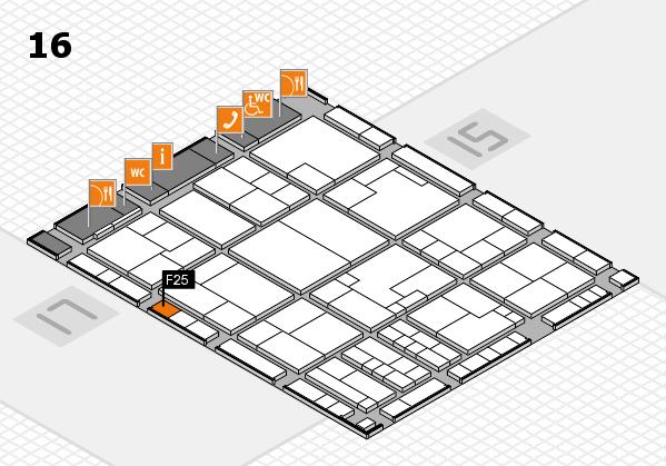 K 2016 hall map (Hall 16): stand F25
