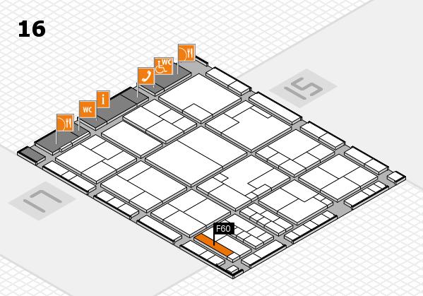 K 2016 hall map (Hall 16): stand F60
