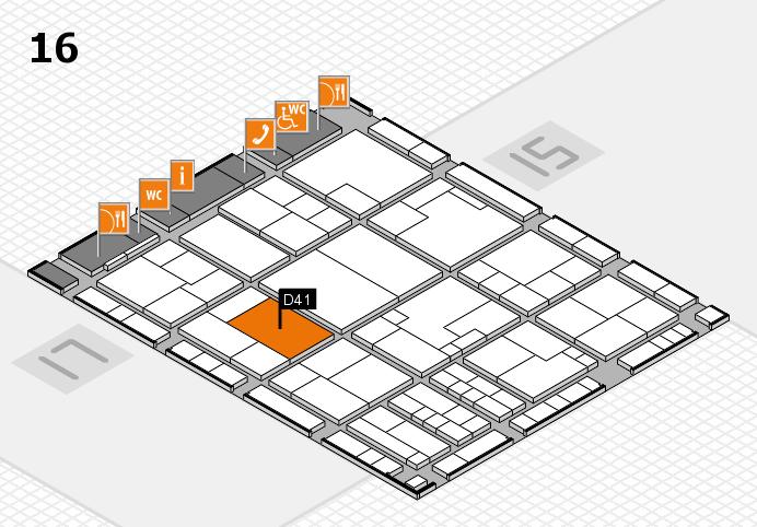 K 2016 hall map (Hall 16): stand D41