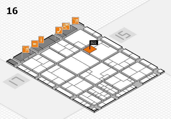 K 2016 hall map (Hall 16): stand B22