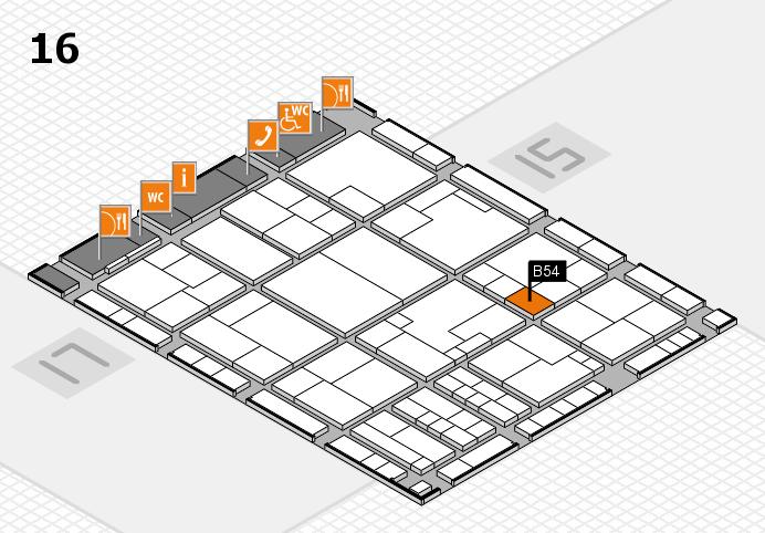 K 2016 hall map (Hall 16): stand B54