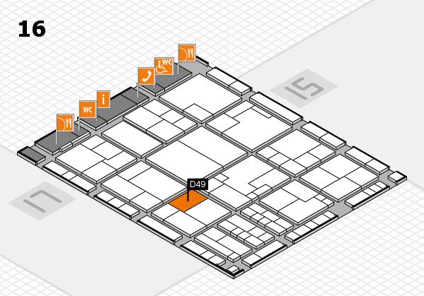 K 2016 hall map (Hall 16): stand D49