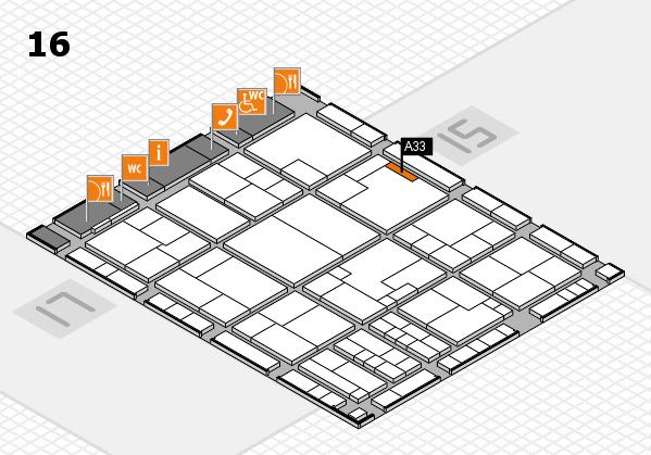K 2016 hall map (Hall 16): stand A33