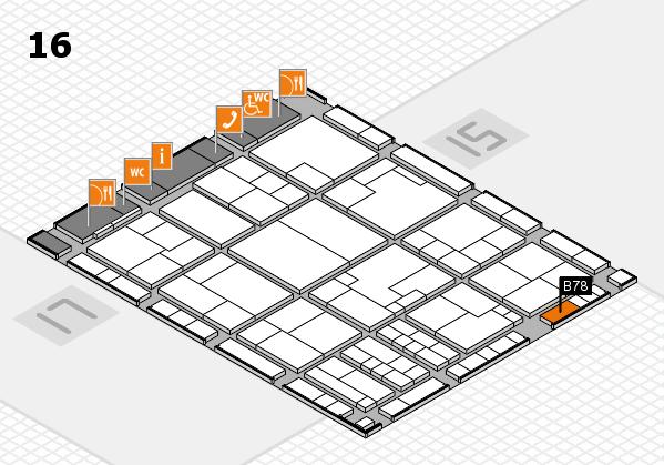 K 2016 hall map (Hall 16): stand B78